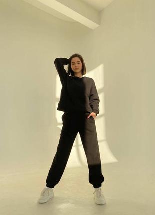 Женский спортивный костюм на весну легкий теплый красивый черный оверсайз лето