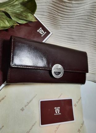 Изящный тонкий  вместительный кожаный кошелек wanlima