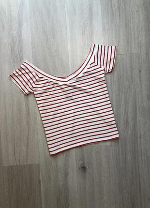 Новий топ блуза майка футболка в смужку на плечі / кроп-топ с открытыми плечами в полоску