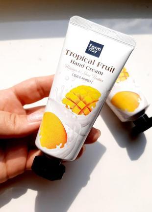 Крем для рук с манго и маслом ши farmstay tropical fruit hand cream mango & shea butter