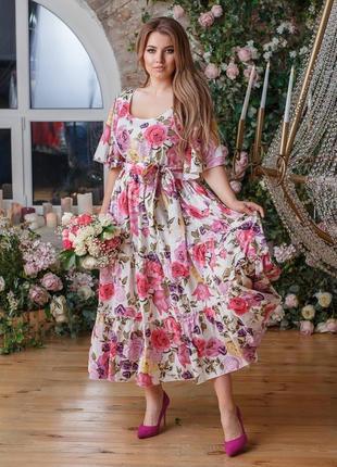 Нереально крутое платье цветочный принт