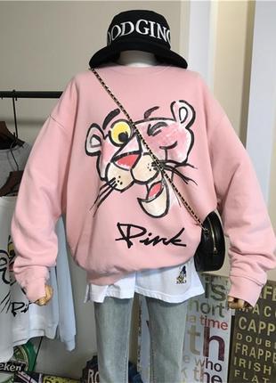 Объемная крутая толстовка, худи, батник на флисе оверсайз розовая пантера