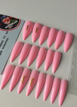 Накладные ногти типсы острая форма розовые когти