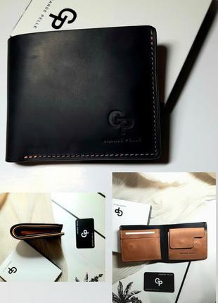 Стильное  портмоне сочетание черного и кемел  из качественной кожи gp италия  grande pelle