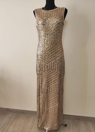 Вечернее длинное золотое платье