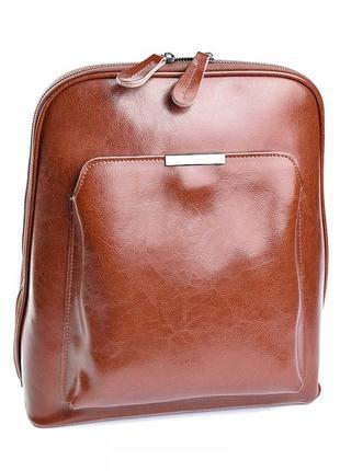 Женский кожаний рюкзак цвета хаки