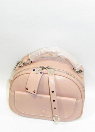 Сумка кожаная женская маленькая кроссбоди кросс боди клатч пудровая новая розовая италия