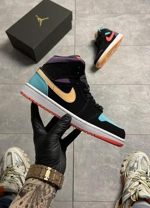 Кроссовки nike air jordan 1 retro mid multicolor