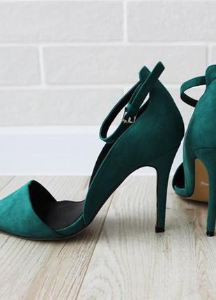 Туфли fiore 39pp изумрудного цвета на застежке