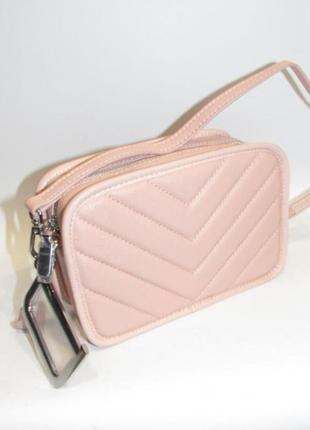 Сумка кожаная женская стеганая маленькая пудровая розовая кроссбоди кросс боди италия