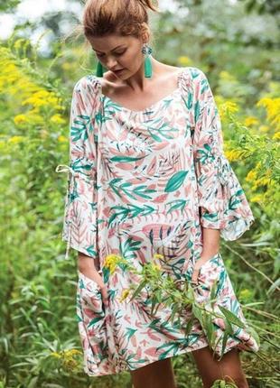 Женское домашнее платье из вискозы с рукавом 3/4 key lhd 950 a21