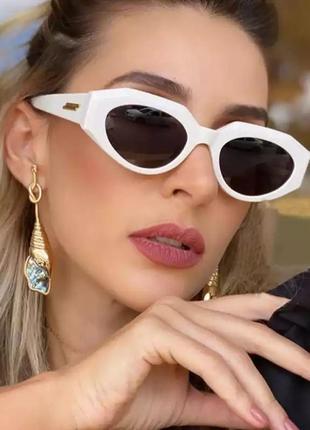 Тренд 2021 белые очки солнцезащитные ретро геометрия окуляри білі сонцезахисні