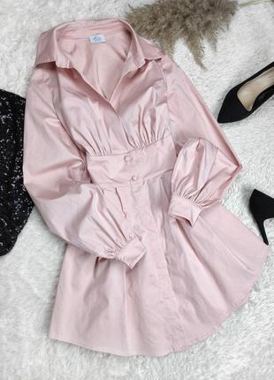Платье рубашка пудра розовый длинный рукав объёмный