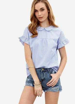 Блуза в полоску с воланами от romwe