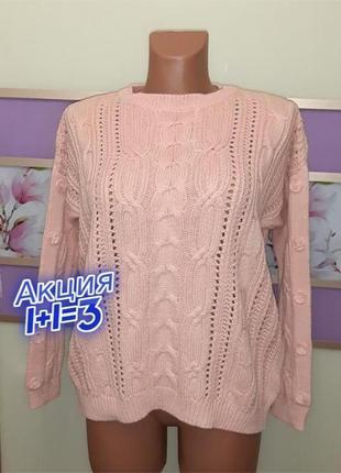 1+1=3 качественный фирменный женский персиковый свитер marks&spencer, размер 50 - 52