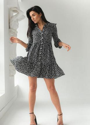 Ефектне красиве коротке плаття, сукня з довгими рукавами на гудзиках турция