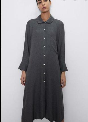 Стильное платье рубашка zara з нюансом