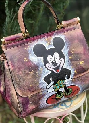 Женская кожаная сумка италия сумка микки ручная роспись