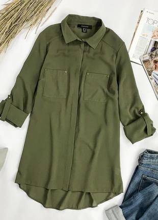 Свободная удлиненная блуза цвета хаки  atmosphere