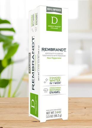 Отбеливающая зубная паста rembrandt deeply white peroxide, peppermint