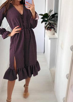 Платье в горох, цвет фиолетовый