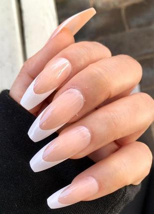 Накладные ногти типсы форма балерина длинные френч