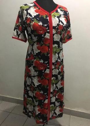 Женский красивый халат с цветочным принтом тонкий