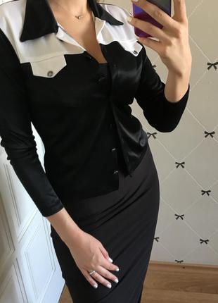 Рубашка черно-белая