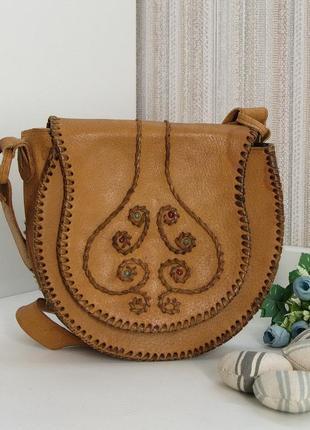 Кожаная сумка кроссбоди, седло, натуральная кожа.
