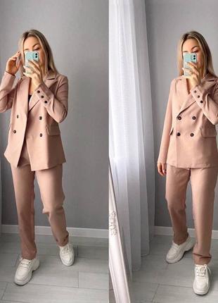 Женский костюм двойка с пиджаком на пуговицах и брюк высокой посадки | есть замеры