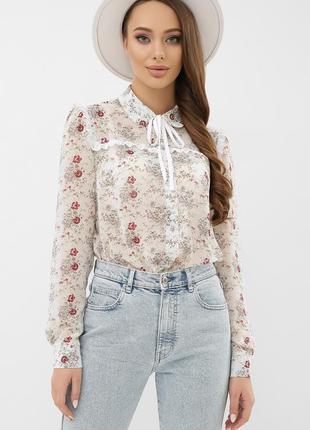 Очень красивая блузка шифон свободный рукав воротничек
