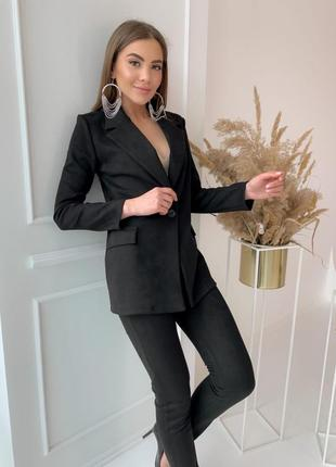 Классические замшевые костюм брюки и пиджак на пуговице гр
