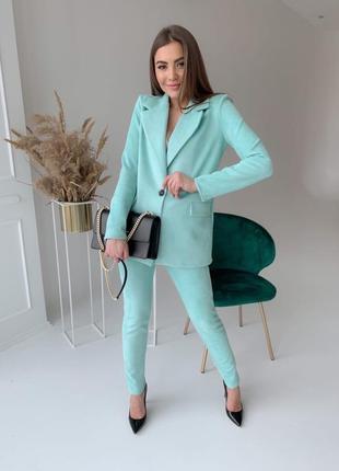 Классические замшевые брючные костюмы пиджак на пуговице гр