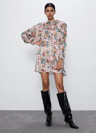 Шикарное платье zara в цветочный принт новых коллекций