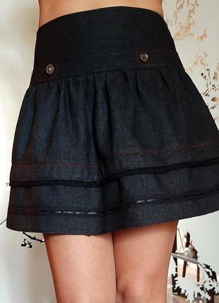 Серая плотная шерстяная юбка на кокетке
