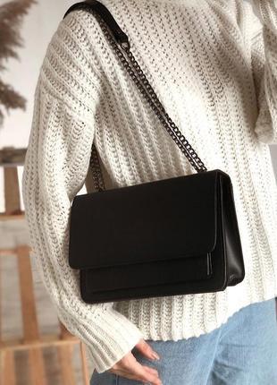 Черный клатч на цепочке клатч наплечный черная сумка через плечо кросс боди на цепочке