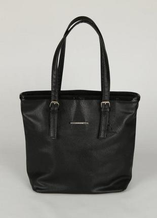 Черная матовая женская сумка корзинка с длинными ручками