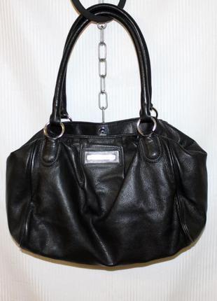Женская большая кожаная чёрная сумка шоппер georges rech италия