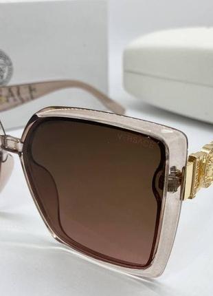 Versace очки женские солнцезащитные прозрачно-бежевые квадраты с градиентом