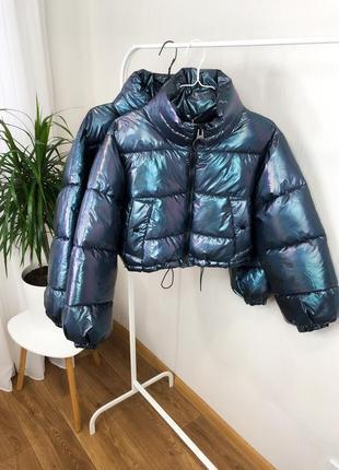Пуффер демисезонный  лаковая куртка виниловая куртка