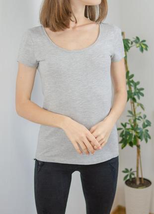 H&m базовая серая хлопковая футболка с круглым вырезом, катонова сіра