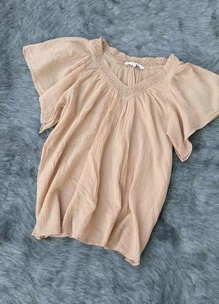 Ситцевая блуза кофточка с пышными рукавами new look