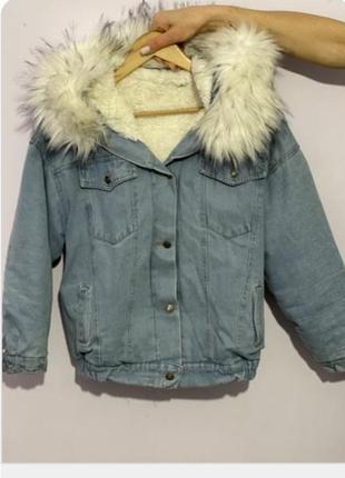 Джинсовая куртка с мехом утепленная