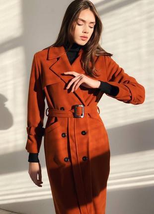 Кирпичное пальто под пояс шерстяное пальто распродажа