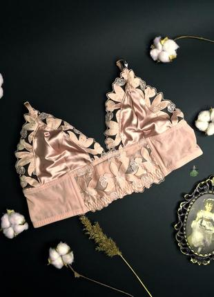 Люкс цветочный бралетт unlined floral embroidered long line bralette vs