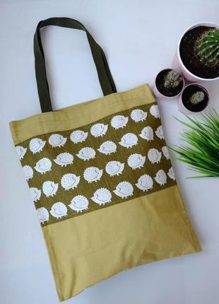 Сумка для покупок с ёжиками, эко сумка, торба, сумка пакет, сумка шоппер 36