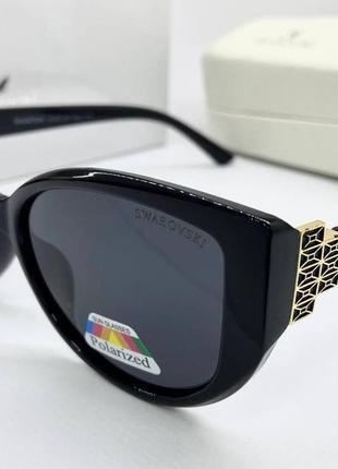 Swarovski очки женские солнцезащитные черные бабочки с поляризацией