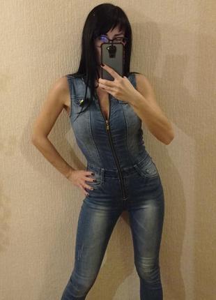 Стильный крутой джинсовый комбинезон coolcat