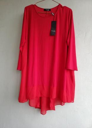 Блузка,туника, ассиметричная свободного кроя с вставками, размер xl, nicole