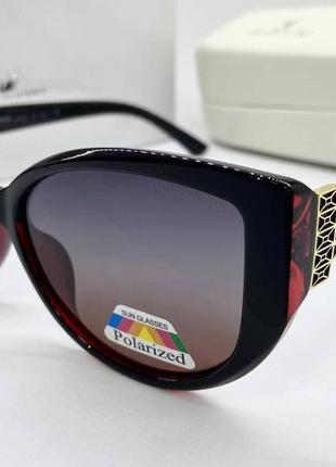 Swarovski очки женские солнцезащитные бордовые бабочки с поляризацией